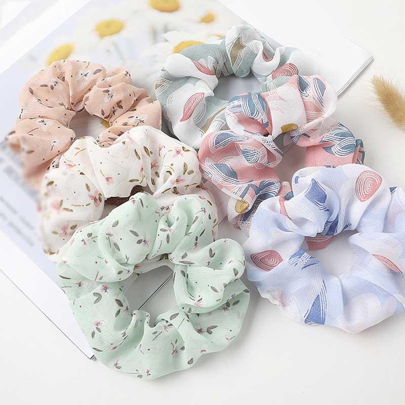 Korean Women Hearwear Girls Hair Tie Striped Lady Scrunchies Ponytail Hair Female Holder Rope Flower Print Hair Accessories
