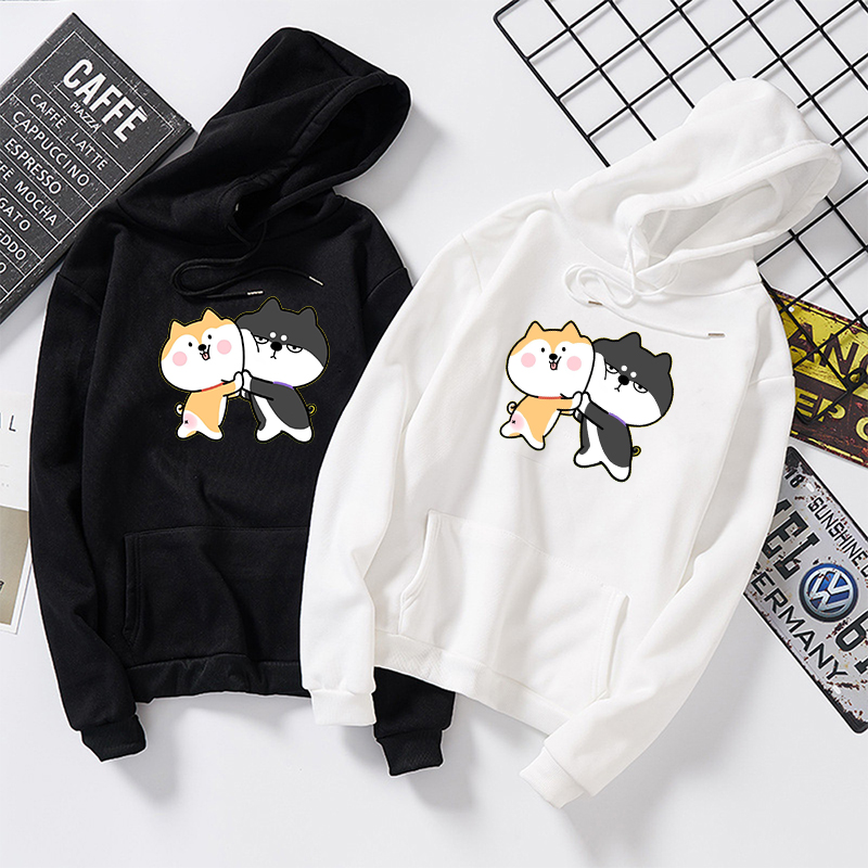 Fall Winter Women Men Pullovers Harajuku Kawaii Shiba Inu Pattern Print Sweatshirt Casual Loose Japanese Streetwear Hoodies Tops
