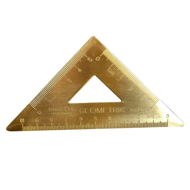 OOTDTY Brass Lsosceles Triangle Ruler Drawing Painting Measuring Tool Cartography Math