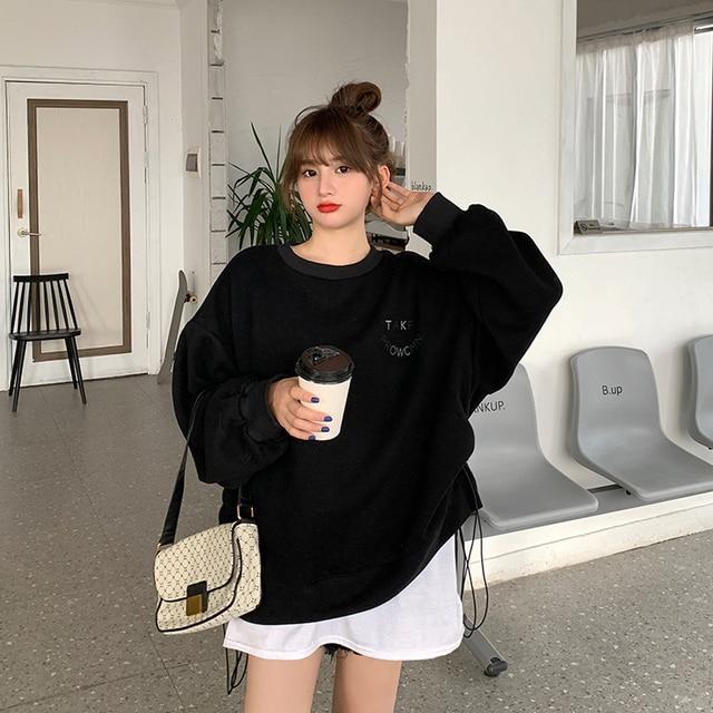 Oversized Hoodies  Harajuku Streetwear Chic Letter Print Hoodies Women Winter  Long Sleeve Hoodies kawaii Sweatshirt 5
