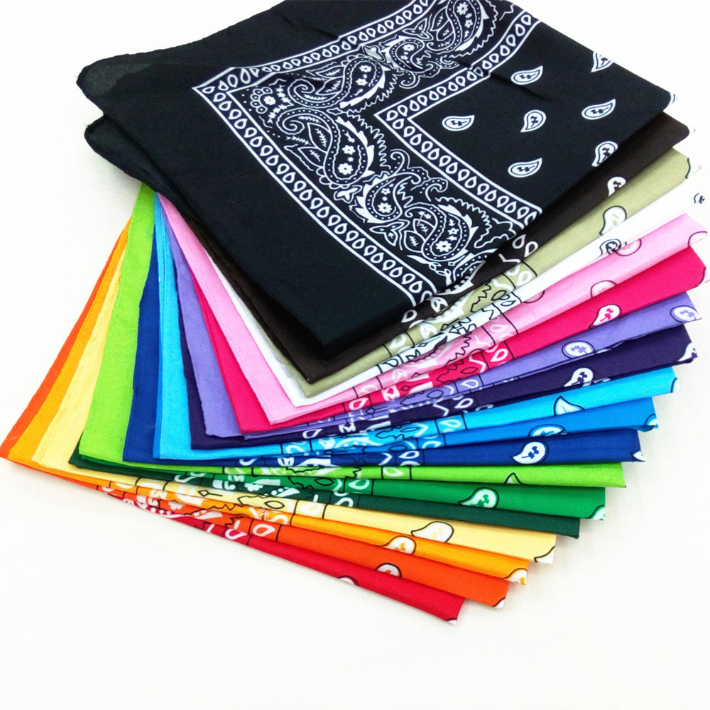 Fashion Women Cotton Bandana Scarf Square Female Bandanas 55cm*55cm Headwear Rock Girls Head Scarf Headbands Hair Accessories