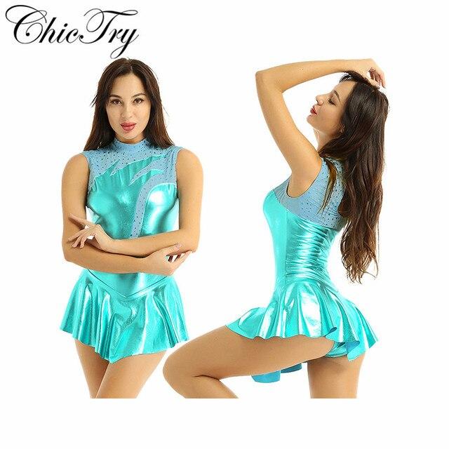 Moda mujeres adultos mujeres niñas brillante metálico cuello alto sin mangas ojo de cerradura espalda patinaje Ballet baile vestido de leotardo de gimnasia