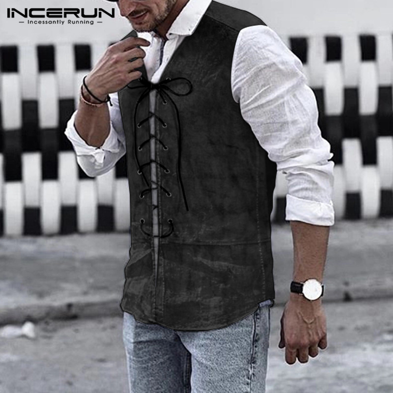INCERUN Men V Neck Solid Steampunk Waistcoat Gothic Jackets Retro Vests Victorian Coat Men  Gentleman Cosplay Costume