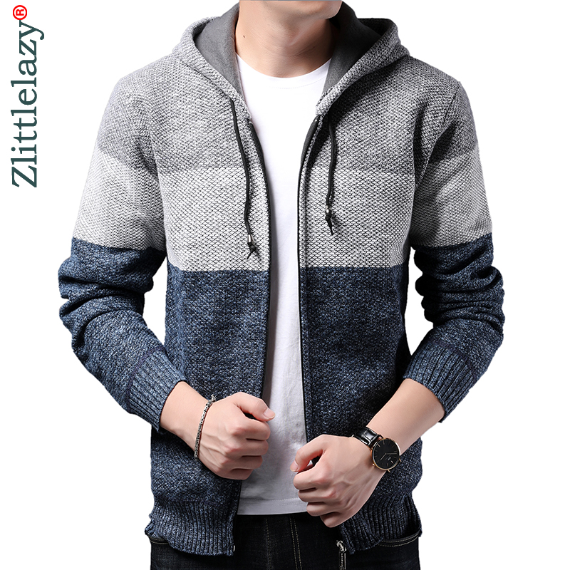 2019 Striped Thick Warm Winter Striped Knitted Cardigan Sweater Men Wear Jersey Mens Knit Mens Sweaters Coat Male Fashions 9312