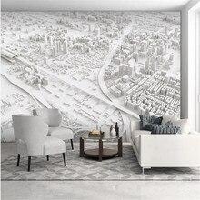 Papier peint mural 3d motif carte ville, tapisserie d'interieur