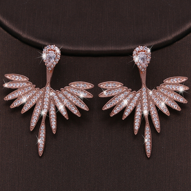 Luxury Trendy Marquise Flower  Pave Crystal Drop Earring  4