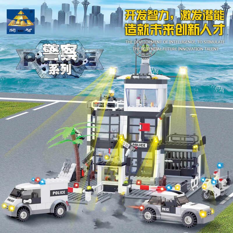 Детская игрушка, совместимая с Legoinglys City Street, комплекты полицейской станции, автомобиль, грузовик, спасательная творческая модель, строительный комплект, блок, полицейский кирпич