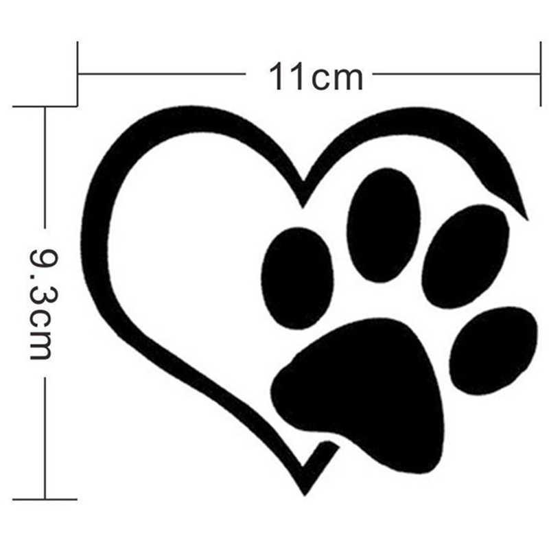 الكلب القط باو الكرتون المطبوعة ملصق سيارة جميلة على شكل قلب للدراجات النارية مقاوم للماء ملصق حائط من الفينيل لتصفيف السيارة