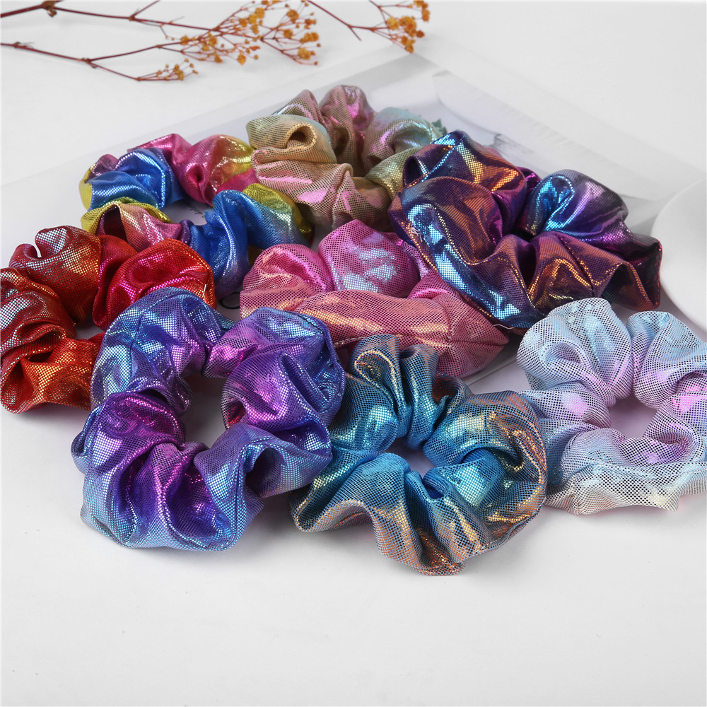 2019 New Fashion Women Colorful Elastic Bronzing Hair Rope Glitter Ponytail Holder Hair Ring Scrunchie 1 PC