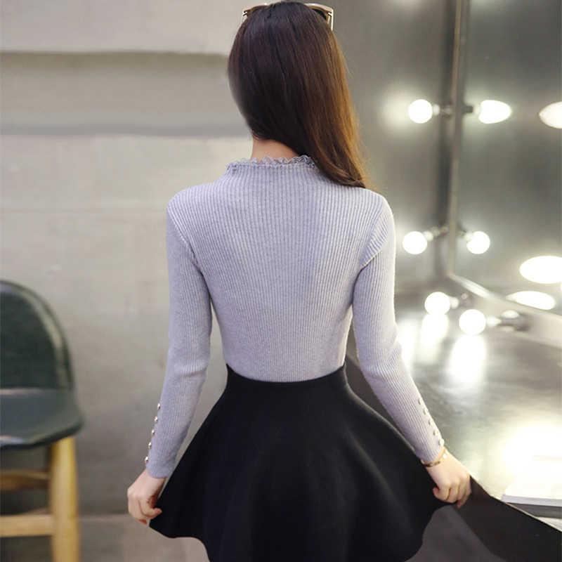 Mùa Đông Đặc Dệt Kim Nữ Áo Len Dài Tay Và Cổ Tròn Cổ Áo Thun Sueter Mujer Cao Cấp Hàn Quốc Kawaii Ren Nút Dây Nhảy
