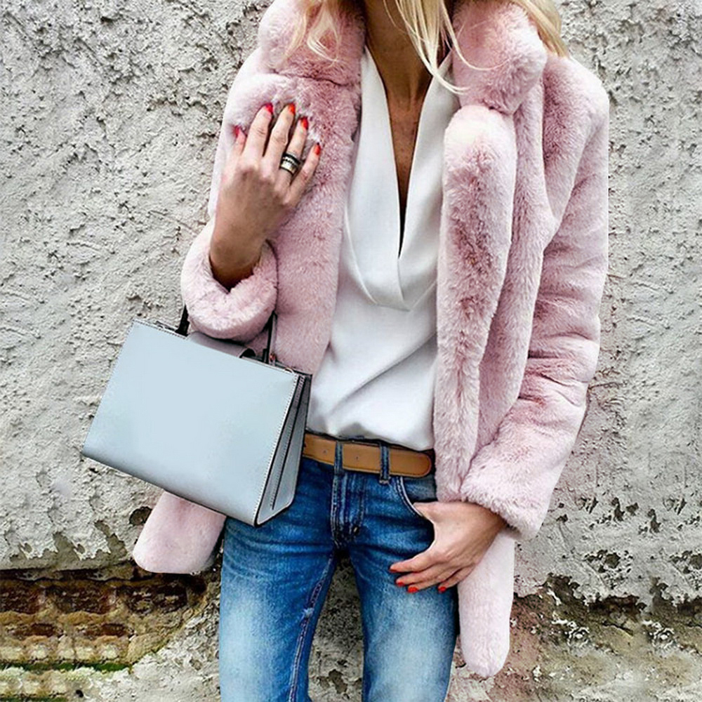 Sfit Fluffy Jacket Coats Outwear Faux-Fur Open-Point Long-Sleeve Warm Female Winter Fashion title=