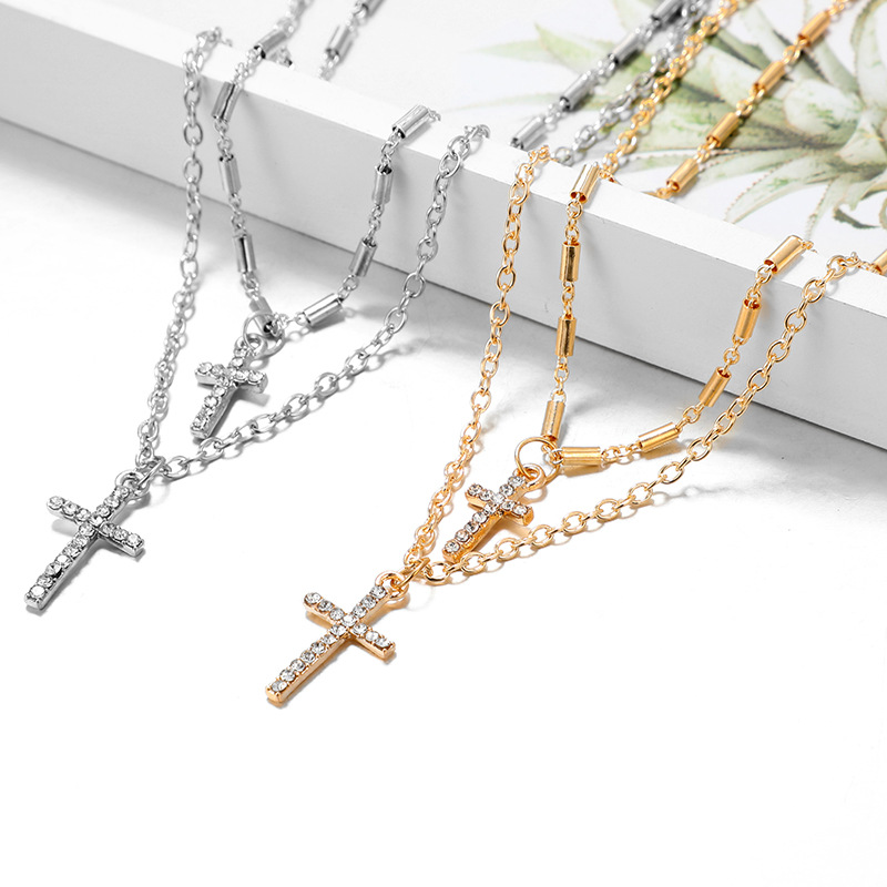Religious Rhinestone Jesus Cross Necklace Punk Double Layer Chain Necklace Men Women Fashion Jewelry Dropshipping Buy At The Price Of 1 36 In Aliexpress Com Imall Com