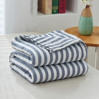 High Quality Cotton Yarn Summer Throw Blankets Plaid Navy Stripe 150*200 200*220cm for Beds