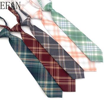 Nowe japońskie plisowane spódnice jednolite gumki krawaty krawaty krawaty dla kobiet Man College Style krawaty Slim Casual leniwy krawat tanie i dobre opinie EFAN WOMEN Chłopcy Dziewczyny moda COTTON Jeden rozmiar CN (pochodzenie) Plaid Dla osób dorosłych