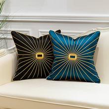 Роскошные наволочки с вышивкой синие черные золотые линии для
