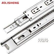 Aolisheng macio perto gaveta slide ferroviário 10-24 Polegada três dobrar completo prolongado rolamento de esferas guia