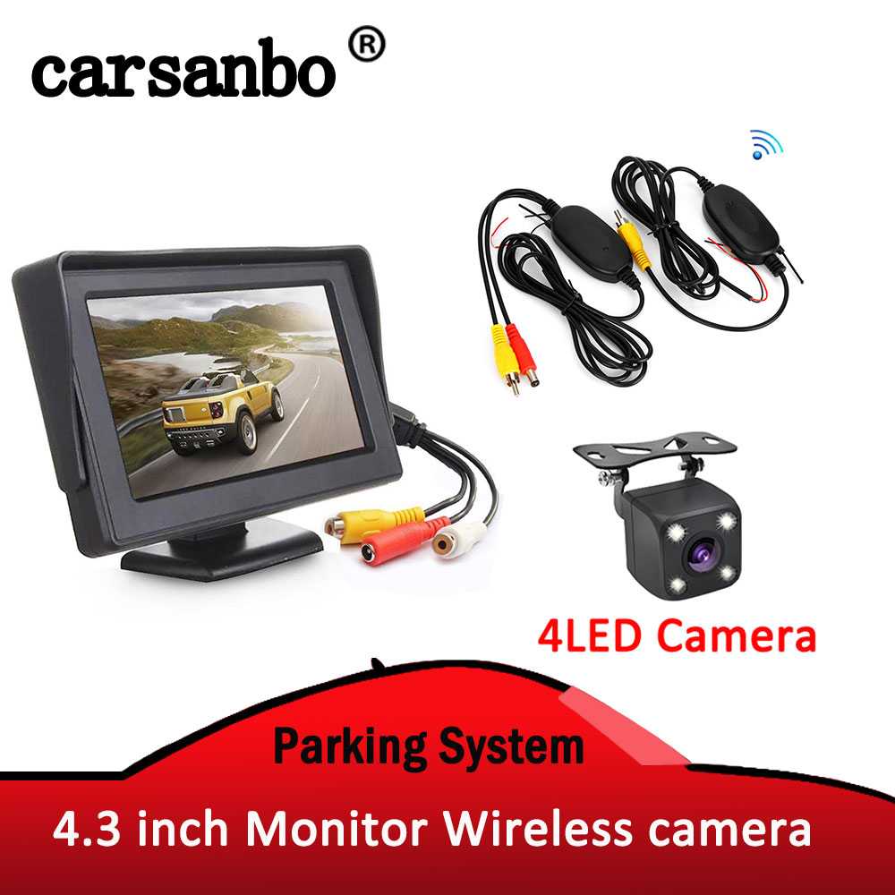 <font><b>4.3</b></font> <font><b>inch</b></font> TFT Car <font><b>Monitor</b></font> Auto Display with Reverse Rear view Camera and Wireless Transmitter & Receiver Parking system image