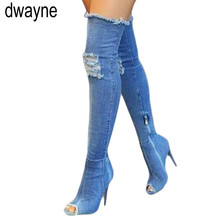2019 New Fashion Women Hole Denim High Heels Over The Knee Boots Spring Summer Sexy Peep Toe Thigh High Boots Hot Botas 693