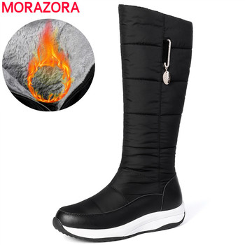 MORAZORA 2020 genuine leather snow boots women platform shoes Down Waterproof zip casual thick fur warm winter boots size 35-44