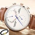 Relogio masculino GUANQIN хронограф часы мужские роскошные модные светящиеся аналоговые в стиле ретро с кожаным ремешком кварцевые часы erkek kol saati