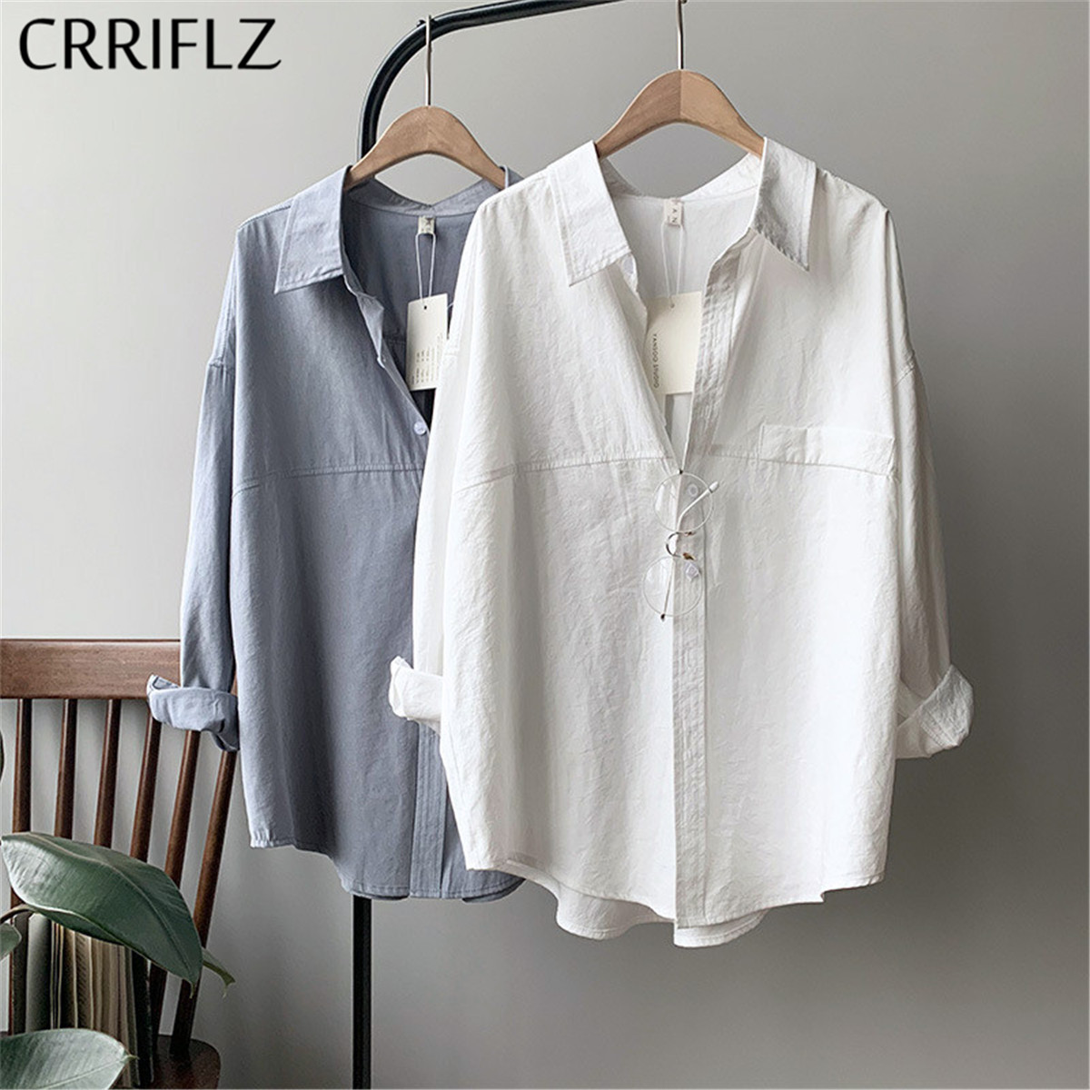 crriflz women's cotton feel shirt imitation suede 2020 spring new long sleeve retro blouses shirts turn-down solid oversize tops(China)