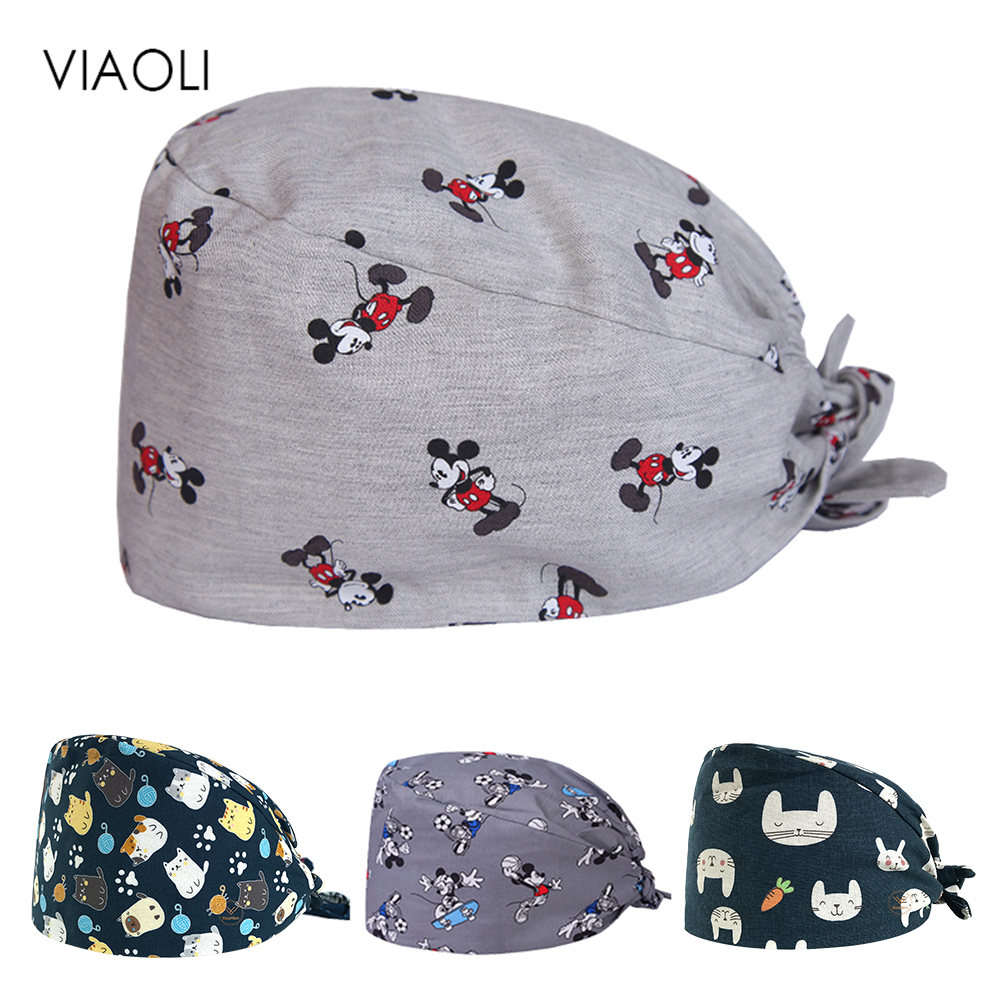 Wholesale Prints Cute Scrub Caps High Quality Gourd Hat Clinic Hospital Dental Surgical Laboratory Pharmacy Medical Caps Pet Cap
