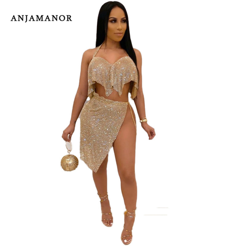 ANJAMANOR Glitter Sexy Two Piece Set Chain Crop Top Skirt 2 Piece Matching Sets Woman Plus Size Summer Club Outfits D91-AC15