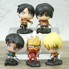 Toys Attack Pvc-Figures Armin Titan Eren Mikasa Rivaille Boxed on 5pcs/Set