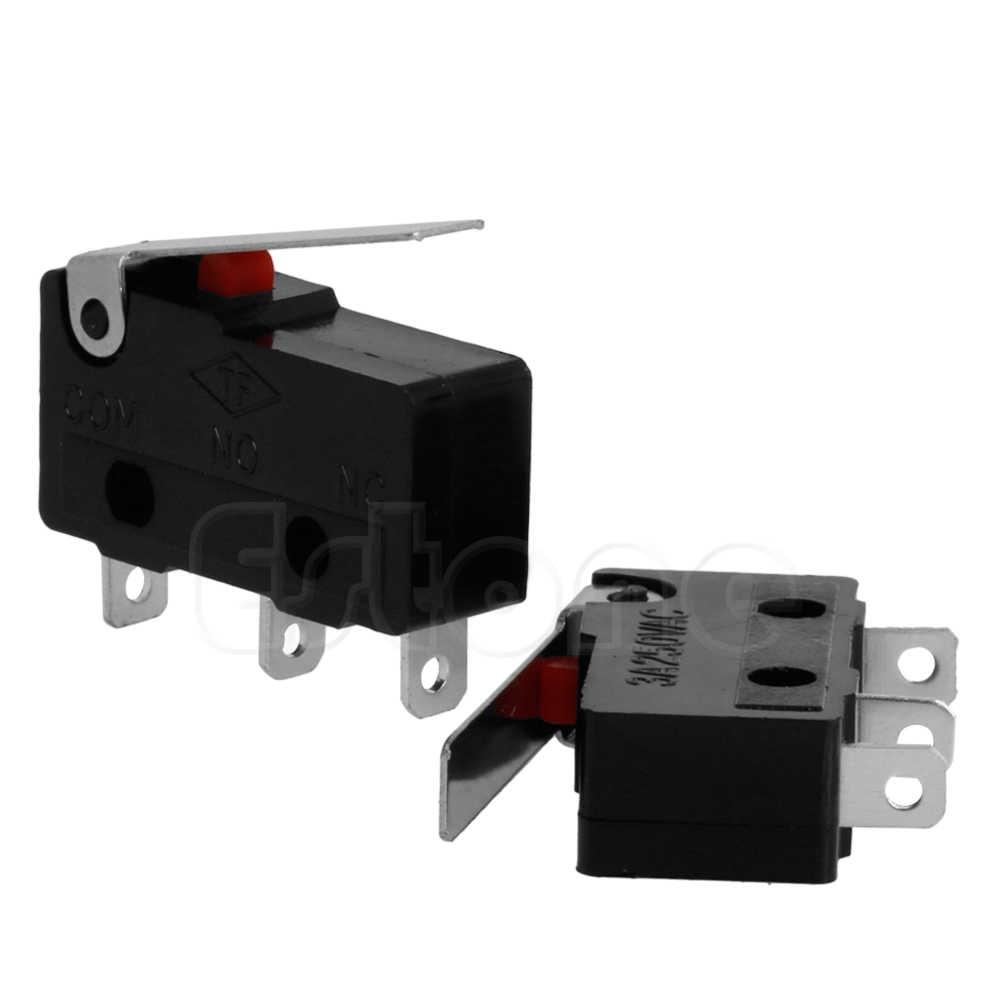 2 Pcs 3A AC C + TIDAK ADA + NC Micro Sensor Limit Switch Roller Lengan Tuas Subminiature