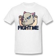 Demon Slayer Kimetsu nie Yaiba koszulki z krótkim rękawem dla mężczyzn ze mną walczyć Inosuke śmieszne bawełniana, z wycięciem pod szyją T Shirt