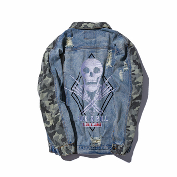 ABOORUN Men's Fashion Embroidery Skull Ripped Denim Jacket Camouflage Patchwork Streetwear Hip Hop Jeans Jacket for Male R3189