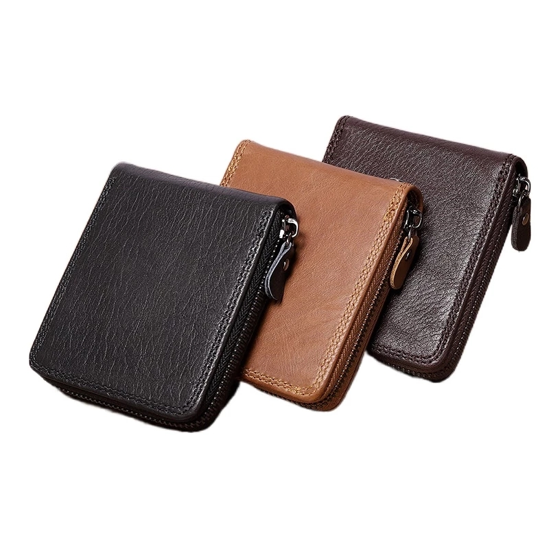 Men's Wallet Zipper Genuine Leather Wallet Men High Quality Anti Theft RFID Blocking Business Credit Card Holder Coin Purse Man