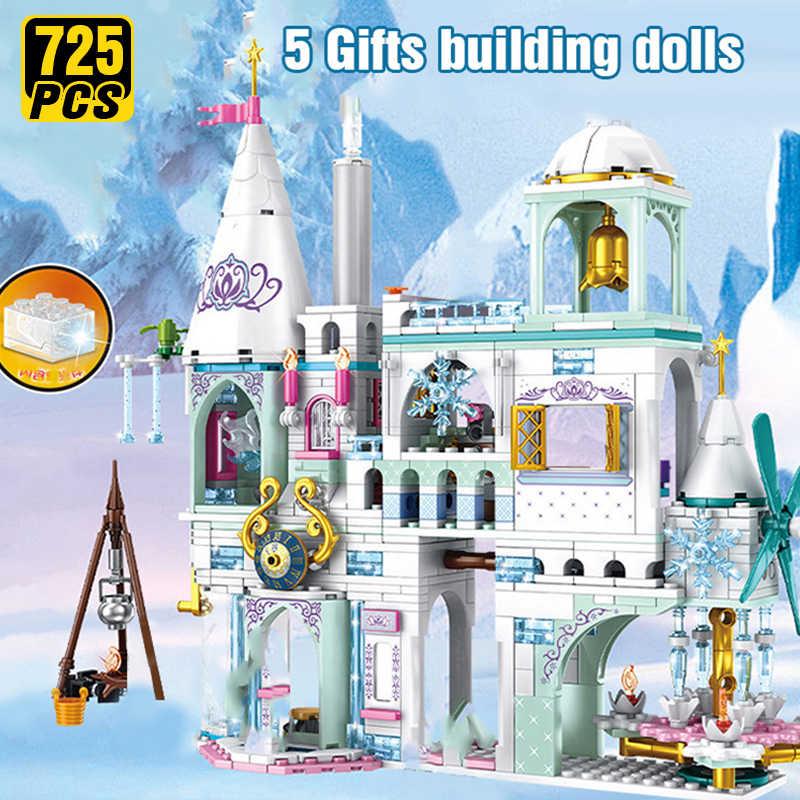 Bloques de construcción Friends Ice Princess Castle Navidad invierno nieve casa dibujos animados ladrillo juguetes para niñas juguetes para niños