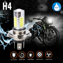 1PC H4 9003 High Power COB LED Bulb Motorcycle Headlight White Hi/Low Beam For ATV Moto Scooter Head Lamp 72mm x 18mm 6000K 30W