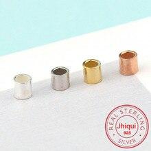 50 pces 925 prata esterlina friso & contas de extremidade 1.5mm,2mm prata crimps contas de extremidade de prata para joias fazendo descobertas de jóias