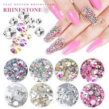 1440 sztuk Super brokat dekoracyjne kryształki górskie Mix rozmiar płaski paznokci artystyczny Design klejnoty ozdoby do paznokci Mini kryształ Strass AB kamienie