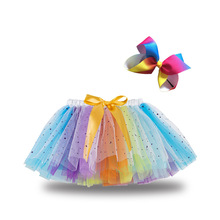Tutu-Skirt Girls Baby Kids Mesh with Bowknot Hair-Clip Elastic Star-Patterns Multicolor