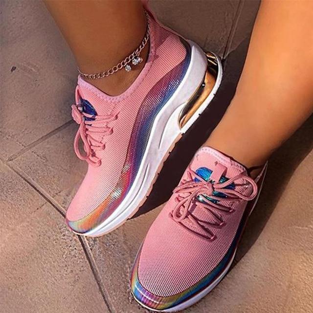 Zapatillas de deporte transpirables con cordones para mujer, zapato vulcanizado cómodo de talla grande para primavera y otoño, 2020 5