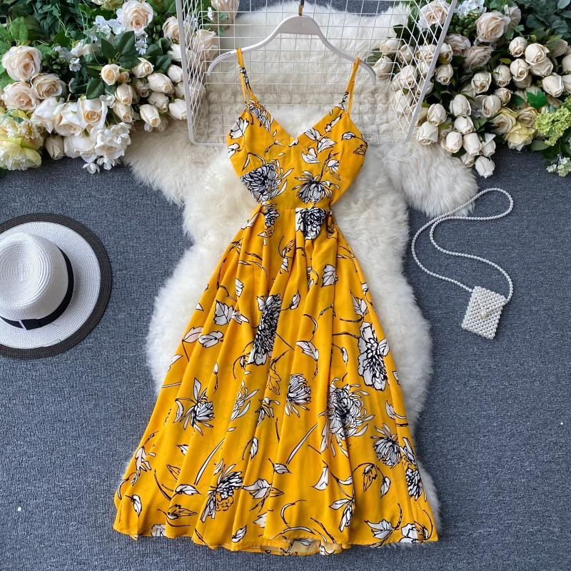Summer Party Dress Women Backless Irregular Ruffle Elegant Sexy Dresses Vintage Polka Dot Beach Female Yellow Dress 2020 Clothes