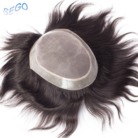 SEGO 6''x8 Straight Real Human Hair Men Toupees Non Remy Mono&PU Thin Skin Hairpiece Wig Replacement System For Indian Men Hair