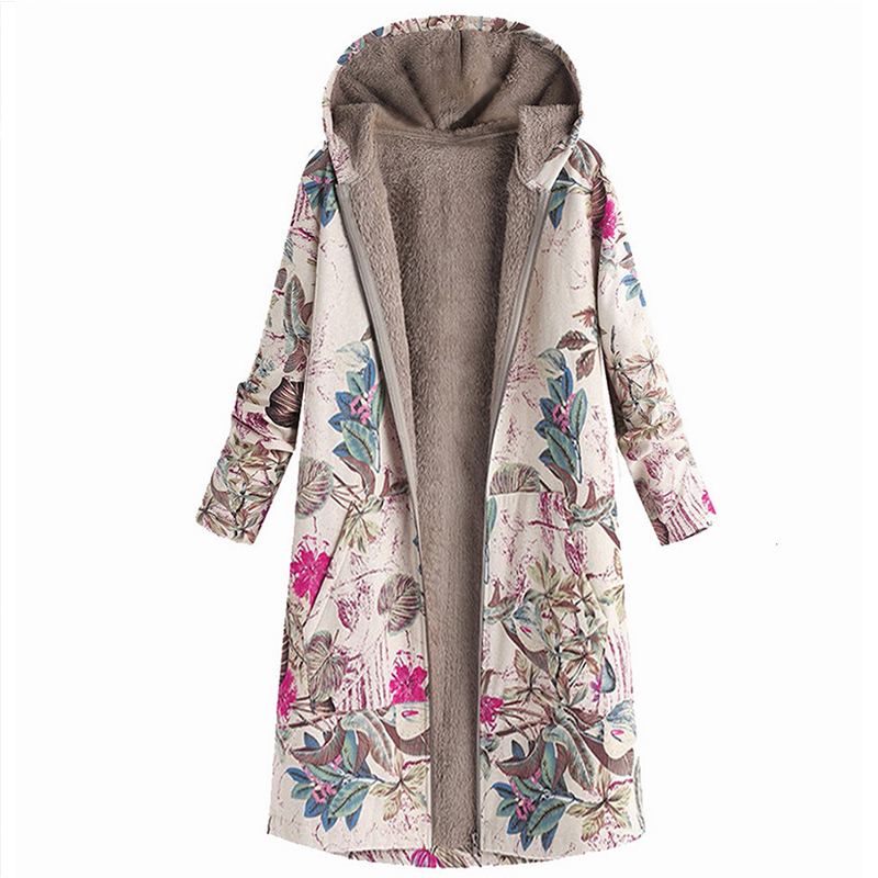 Long Winter Jacket For Women Padded Outerwear Plus Size Women Casual Coats Printed Warm Military Coat With Hood