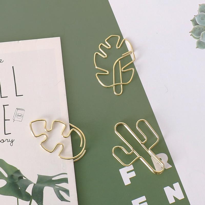 TUTU 8pcs/set Bookmark Metal Paper Clip Decor Rose Gold Colorfur Book Note Decoration Binder Clip Stationery School Office H0412