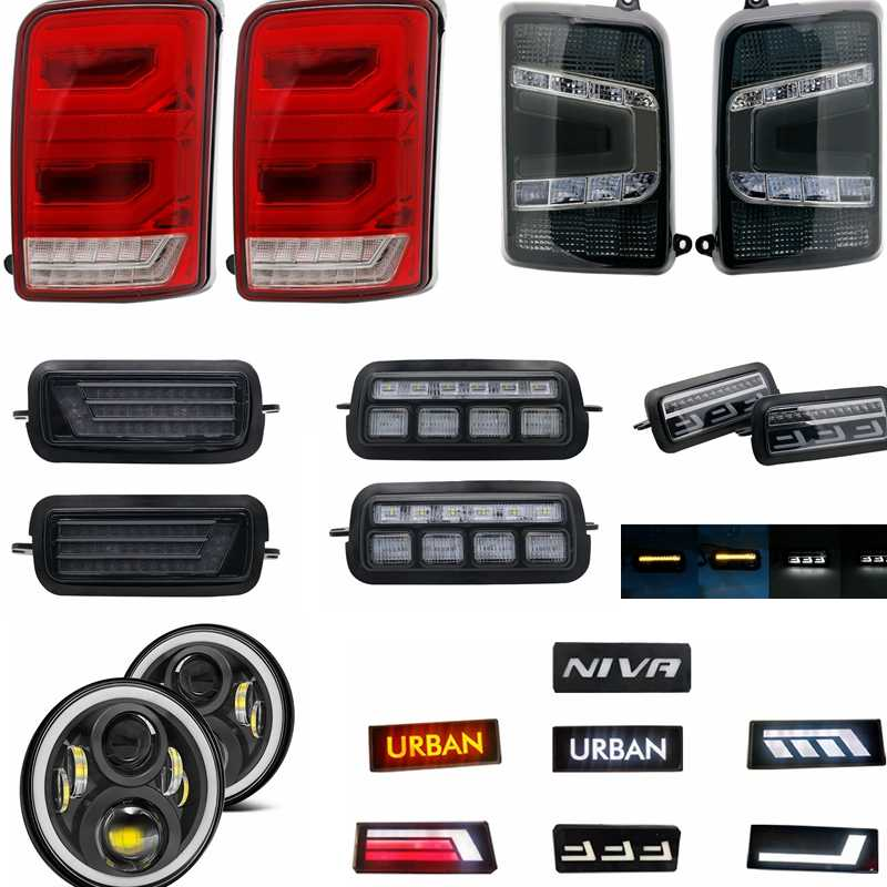 """Luces de freno de marcha atrás de marcha LED luz trasera de marcha trasera de 7 """"faro Led coche DRL para Lada Niva 4x4 brón urbano"""