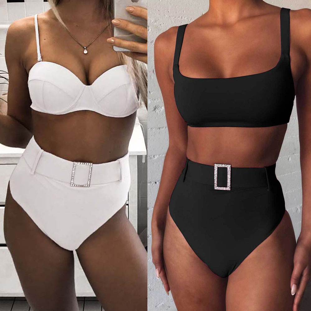 Pink High Cut Push Up Swimsuit Diamond Belt Bikini 2020 Women Swimwear Two Pieces Bikini Set Bather Bathing Suit Swim|Bikini Set|   - AliExpress