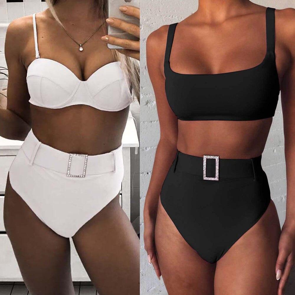 Pink High Cut Push Up Swimsuit High Waist Bikini 2020 Women Swimwear Two-pieces Bikini Set Bather Bathing Suit Swim