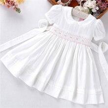 Letnie dziewczynek sukienki białe smocked handmade bawełna w stylu vintage ślub odzież dla dzieci księżniczka Party butiki ubrania dla dzieci