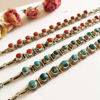 Nepal 925 Sterling Silver Vintage Jewelry Inlay Natural Turquoises Coral Beads Chain Bracelets T9006