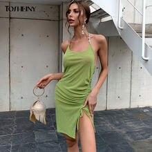 Tosheiny женское облегающее платье бодикон без рукавов сексуальное