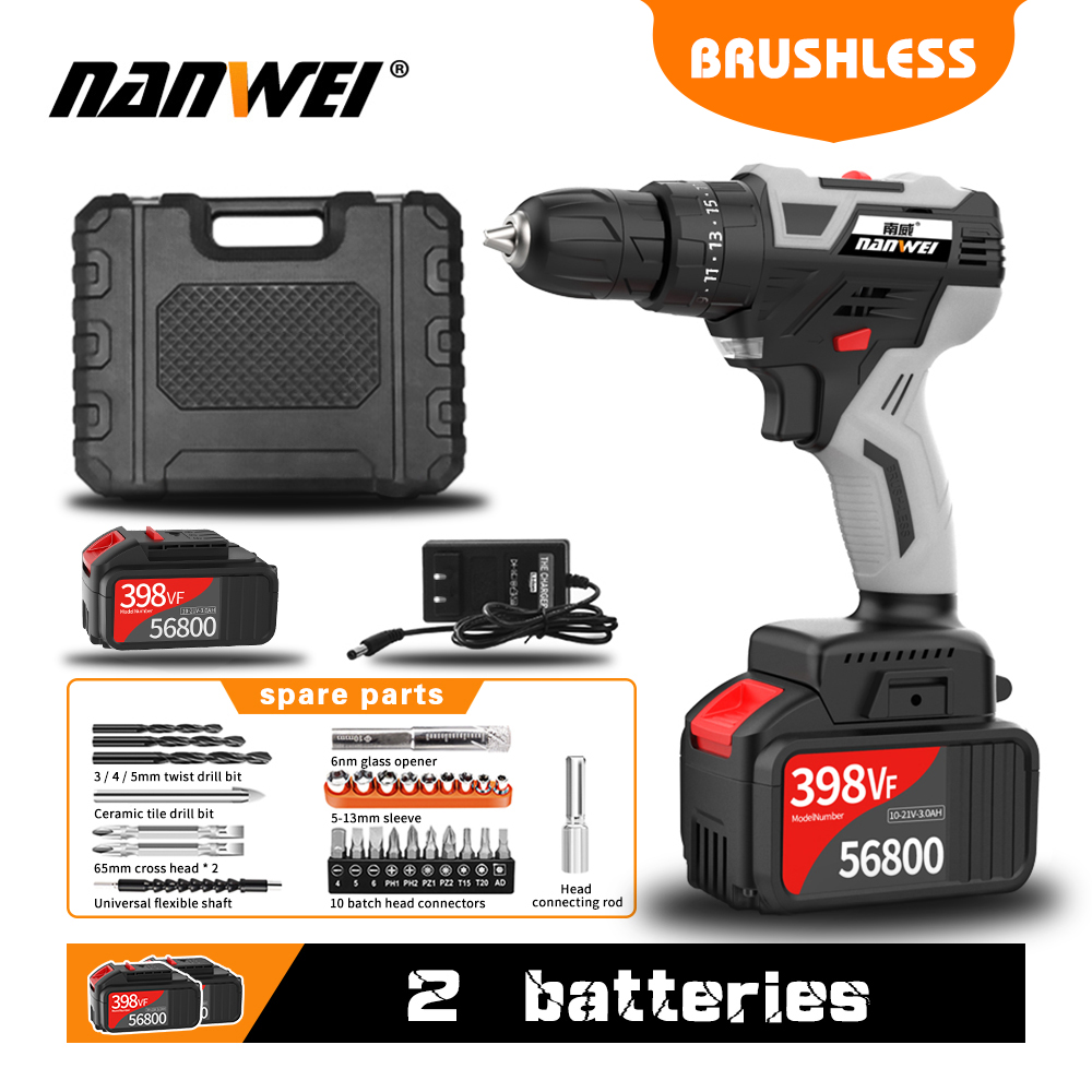 NANWEI 2020 Impact Cordless Drill Brushless Cordless Drill Impact Electric Drill Power Tools Hammer Drill