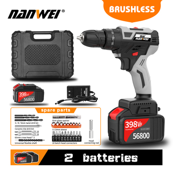 45% Off- NANWEI Impact Hammer Drill Brushless Power Tools BrushlessCordlessDrill